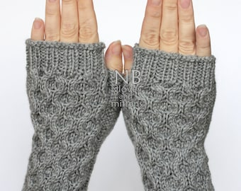 Hand Knitted Fingerless Gloves, Grey, Gloves & Mittens, READY TO SHIP