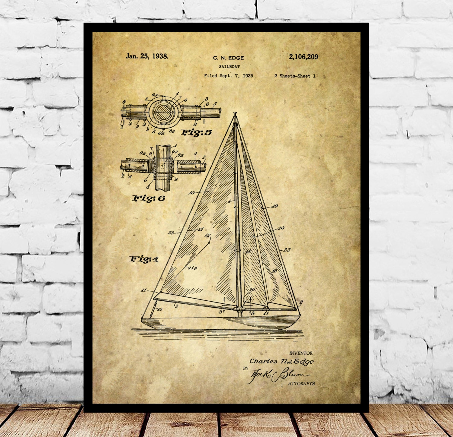 Sailboat Print, Sailboat Poster, Sailboat Patent, Sailboat Decor ...
