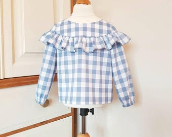 Long sleeve ruffle blouse in age 2 to 6 years made in blue and white cotton gingham