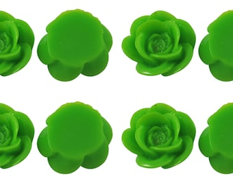 15 x Rose Resin Flat Back Cabochon Flowers 18mm x 8mm - Lime Green - Bright Green - CAB10