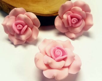 3/5/10 pieces- Large Handmade Polymer Clay Beads Pink Rose Flower Beads 30mm