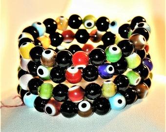 Glass Bead Evil Eye Wrap Bracelet OOAK