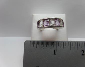 Vintage Sterling Silver Ring w/ Amethyst & Quartz / FDM