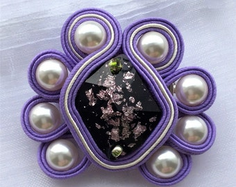 Purple Soutache brooch