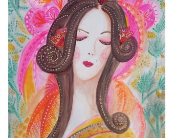 Geisha Girl. Woman in Kimono A3 Art Poster Print.