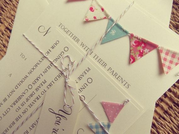 Bunting Wedding Invitation Unique Rustic Kraft Card with