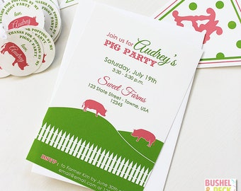 Piggy Party #Invitations - #Farm #Party - PRINT & SHIP or DIGITAL