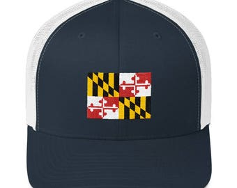 Maryland Hat - Maryland Flag Hat - Maryland Flag - Maryland - Maryland Ball Cap - Maryland Trucker Hat - Maryland Trucker Cap - Maryland Cap