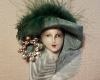 Burst of Spring, Vintage Style Lady Face Brooch, Porcelain-Look Pin