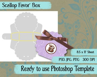 Scrapbook Digital Collage Photoshop Template, Scalloped Favor Box
