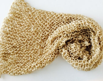 """Chunky Knit Baby Blanket, chunky knit baby photo prop, Champagne Gold, photo prop blanket, size 32"""" x 32"""""""