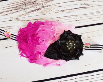 Handcrafted Pink Black and White Vintage Style Rose Feather Headband - Fancy Baby Headband - 1920s Inspired Headpiece -Flapper Girl Headband