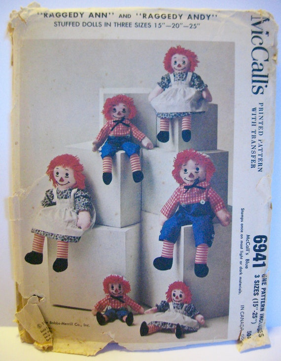 McCalls 6941 Vintage 1963 Sewing Pattern Raggedy Ann and Andy Dolls ...