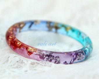 Resin bracelet  Summer bracelet Bangle gold flakes Colorful bracelets Resin bangle Bracelet of colored resin Silver flakes  Glitter jewelry