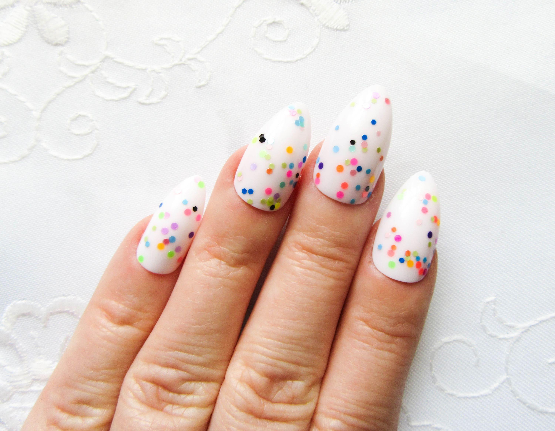 Kawaii Confetti Stiletto Nails / Fake Nails / Birthday Nails / Cute ...