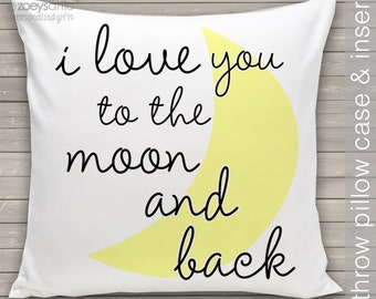 i love you to the moon and back  throw pillow and removable pillowcase new baby gift PIL-084