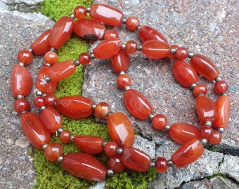 Vintage Carnelian Bead Necklace
