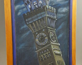Archival Print of Original Painted Window Screen of the Emerson Bromo Seltzer Tower under the Super Moon in Baltimore Maryland