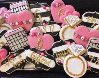 1 Dozen Kate Spade Themed Black and White Striped Bridal Shower Customizable Cookies