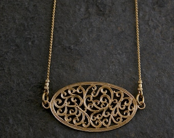 Women's Gift, Gold Necklace, Boho Gold Necklace, Bohemian Necklace, Ethnic gold Necklace, Gold Lace Necklace, Gold Lace Filigree Necklace,