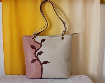Pink leather bag, Medium size tote bag, Italian leather bag for women, Medium size purse,  Ivory leather tote bag, Genuine leather tote bag