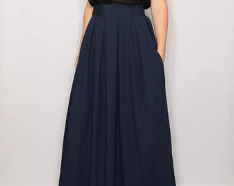 Maxi skirt Long skirt Navy blue Plus size women High waisted skirt Chiffon maxi skirt Bridesmaid skirt Skirt with pockets