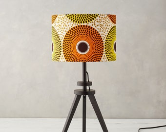 Lampshade african wax print drum lampshade blue geometric lampshade african wax print drum lampshade yellow orange geometric lampshade lamp shades aloadofball Choice Image