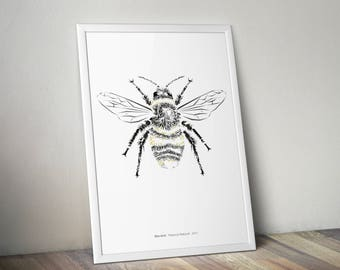 Bee kind, yellow, bee animal art illustration giclee print gift A4