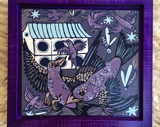 Purple Martin woodcut framed in solid tiger maple wood