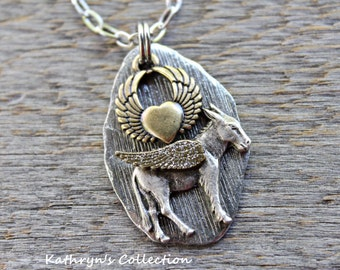 Donkey Necklace, Donkey angel, Burro Angel, Pet Donkey, Donkey Sympathy Gift