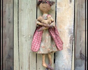 SALE mailed paper pattern Primitive folk art rag doll with her chicken HAFAIR OFG faap 328
