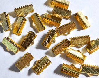 13mm Gold Ribbon End Clamps - Crimp Fasteners - Closures, 20 PC (INDOC4)