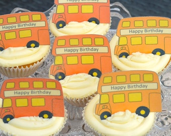 Edible ORANGE London Double Decker Buses x 15 - Routemaster Personalise Wafers Rice Paper Cake Cupcake Biscuit Toppers Party Decoration