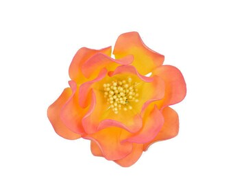 Pink and Yellow Open Rose Sugar Flower for weddings, cake toppers, and gumpaste flower decorations