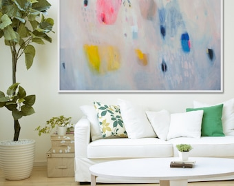 """White, blue and yellow abstract print with pink. Giclée print of  painting by Lola Donoghue """"Lock Ring Series 10"""""""