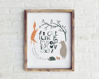 Woodland Nursery Decor, Printable Woodland Nursery Wall Art, Woodland Nursery Art, Nursery Wall Art, Baby Boy Nursery, Alphabet Poster