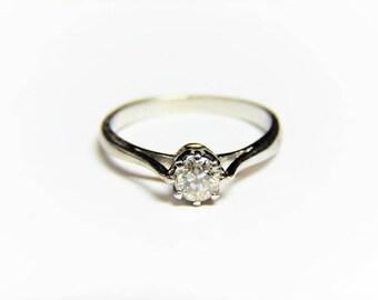 18K White Gold .25 Carat Diamond Solitaire Ring, 18K Promise Ring 1/4 Ct Diamond Ring, Diamond Solitaire Ring, Diamond Engagement Ring