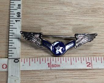 Vintage Silver Toned Wings Blue Enamel Star Pin Brooch Used