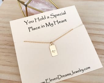 """NEW! Handstamped Gold Heart Necklace. """"You Hold a Special Place in My Heart"""" message necklace. 14k goldfill Safe for sensitive skin"""
