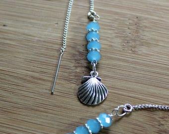 Swarovski Crystal Natural Threader Earrings/Minimal Sterling Silver Dangle Earrings/Free Shipping USA/Blue Crystal Earrings/Blue And Silver