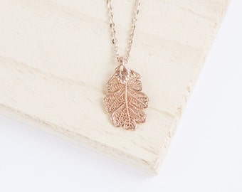 Oak Leaf Necklace, Leaf Necklace, Leaf Pendant, Copper Leaf, Gold Leaf, Silver Leaf, Rose Gold Leaf, Personalise Necklace, Initial Jewelry