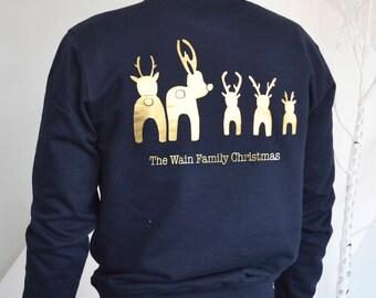 Personalised Reindeer Bottoms Christmas Jumper,