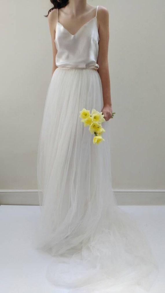 Brautkleid trennt Seide Tüll Hochzeit Kleid Rock