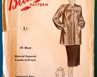 "Rare vintage 1940's smock, tunic with front button closing, collar, pockets sewing pattern - Blackmore Pattern 5748 - size 36"" bust - 1940s"