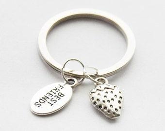 Best Friends Key Rings, Strawberry Keychain, Strawberry Key Ring, Custom Strawberry Keychain, Strawberry Accessories, Best Friends Keychain