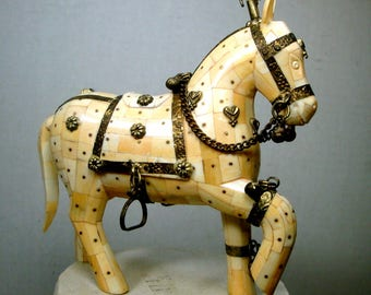 Oxbone Horse Sculpture, Fine Carved Mosaic Inlay with Brass Metal Overlay. Natural, Delicately Aged, 1980s India