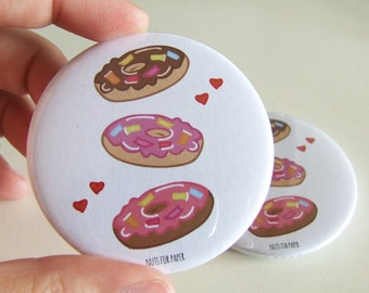 Stack of Donuts! - For the love of Donuts! Badge - 57mm Large Pin 2.25 inch - Illustration - Pinback Button