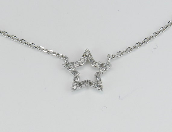 Diamond star pendant necklace white gold 18 chain like this item aloadofball Choice Image