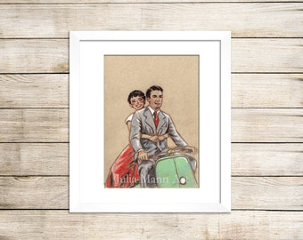 Audrey Hepburn  Roman Holiday Art Print, Audrey Hepburn Drawing, Audrey Hepburn Art, Ready to Frame, Unframed Art Print, Roman Holiday