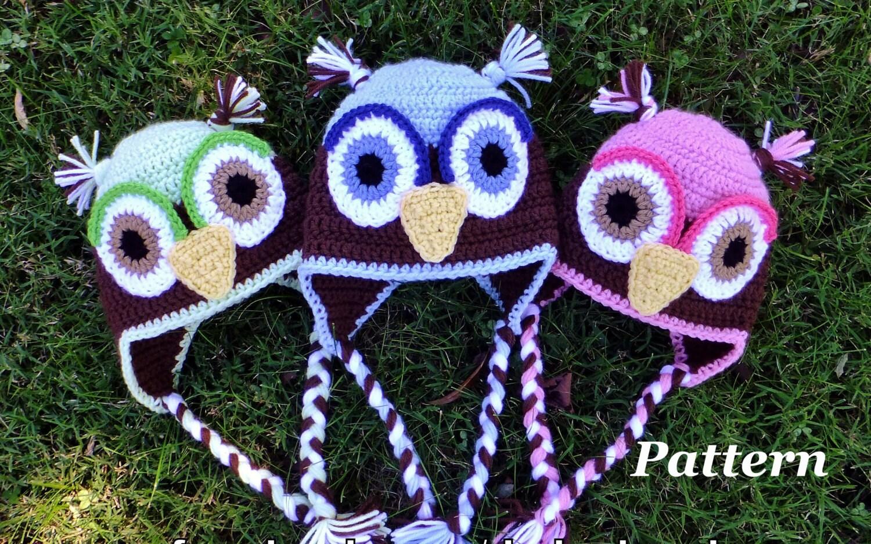 PATTERN: Crochet Earflap Owl Hat, Crochet Boys Winter Hat Pattern ...